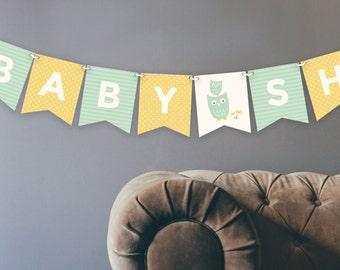 Printable Owl Baby Banner | Gender Neutral | Digital File | Baby Shower Decoration