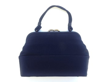 Navy Faille Vintage Handbag / Vintage 1950s Fabric Purse /  Kelly style Handbag  / 50s Small Bag / Retro Style Mad Men Hand Bag