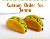 Custom Order for Jenna - Crunchy Taco Cufflinks in Natural Wood Box