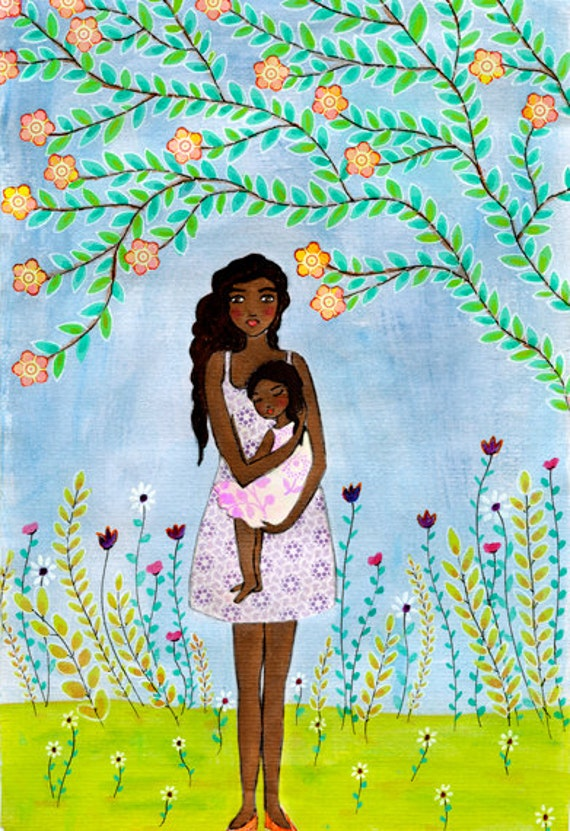 Mother And Child Painting Nursery Wall Art Dark Skin