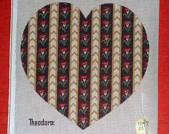 Needlepoint Pillow Heart Flowers Theodora DMC colors  Handpainted