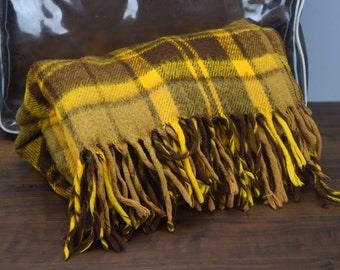 Faribo Pak-A-Robe Wool Stadium Blanket, Faribault Woolen Mill, Yellow and Brown Plaid Wool Lap Blanket In Carrying Case
