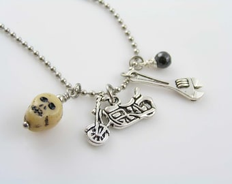 Motorcycle Charm Necklace with Repair Tool, Skull Bead and Black Cubic Zirconia, Motorcycle Gift Jewelry, Biker Jewelry, N1591