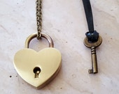Bronze Heart Lock and Key Couples Necklace - Couples Jewelry - Jewelry Set