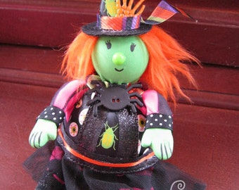 Witch Doll! Windy the Witch! Handmade One of a Kind Art Doll - Roly Poly Cute Witch Friend! OOAK!