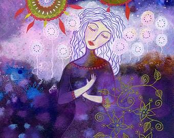 Aurora. Art print from my mixed media painting, wall art, A4