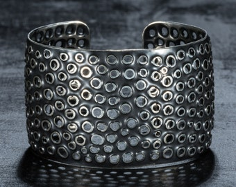 Sterling silver perforated cuff bracelet