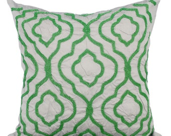 Green Couch Sofa Cushion Covers 16 x 16 Pillow Covers Grey Silk Embroidered Decorative Pillows Creative Green