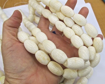 Large Natural White Coral Polished Barrel Beads 15mm x 20mm 16 Inches