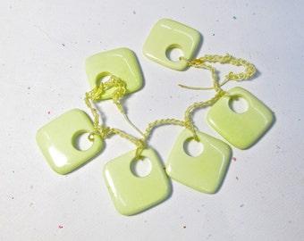 Lemon Chrysoprase Briolette BEads, Cushion Square Hoop Briolette Beads,  1 Strand 28mm Pairs