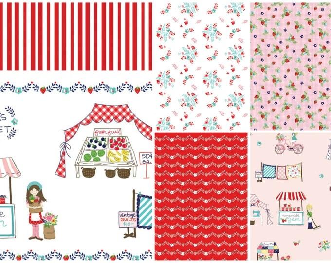 Vintage Market Bundle, Riley Blake cotton fabric, red palette - fat quarter bundle - 6 pieces