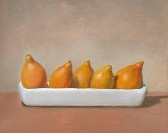Five Kumquats in a White Dish, Art Print