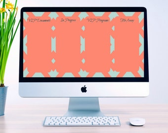 Computer Background Organizer - Mint and Coral Chevron
