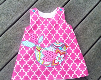 Girls Spring Dress - Peasant Dress - Pink Dress - Bird Dress - Applique -  Groovy Gurlz