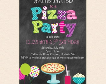 Pizza Party Invitation - Chalkboard Style with Pizza, Popcorn and Balloons