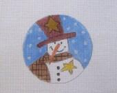 Primitive Snowman w/Stars Christmas Handpainted Needlepoint Canvas Ornament