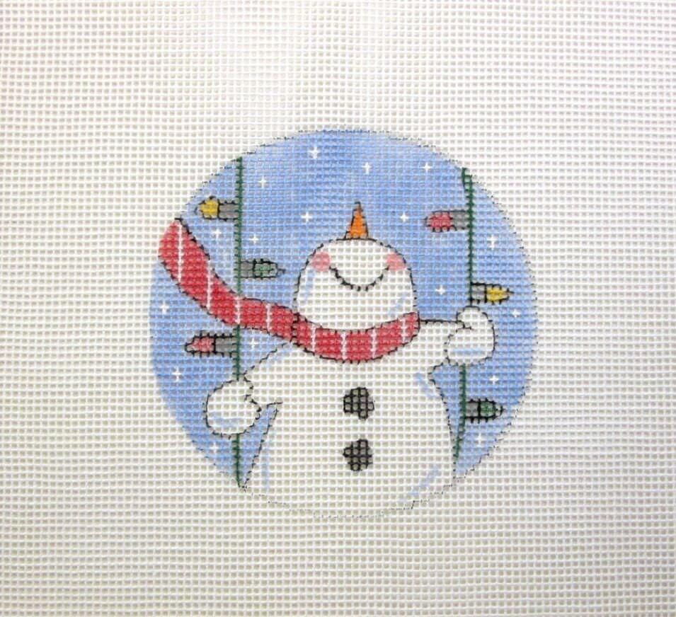 Snowman Swinging on Christmas Lights Ornament by MarsyesShoppe