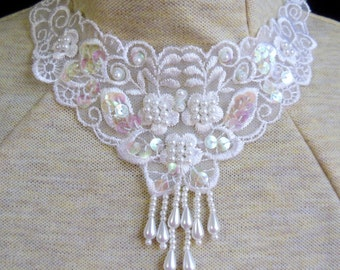White pearl beads and sequins-sheer background-embroidered