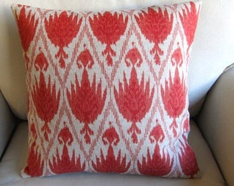 Beautiful CORAL ikat pillow 18x18 20x20 22x22 12x20 13x26 insert included