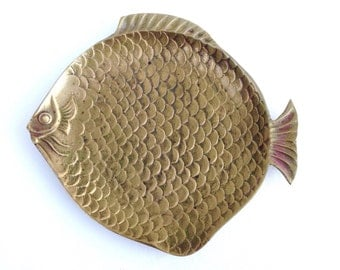 Vintage Brass Fish Dish Figure Hollywood Regency