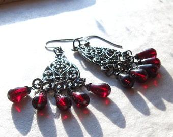 Chandelier Boho Earrings, Red Drops, Gun Metal Filigree