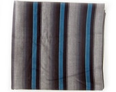 RESERVED 1950s Vintage Striped Cotton Fabric - Shadow Stripe in Black, Grays and Teal Blue