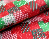 Vintage Christmas Patchwork Fabric with Stockings, Christmas Trees and Holly Leaves  / COTTON Quilting Weight Yardage