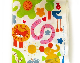 Colorful Cotton Child Print Fabric / Novelty Print of Zoo Animals / Lions Elephants Monkeys / Designed by Eva Lundgreen for Ikea 2008