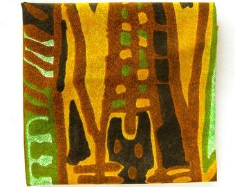 Vintage Tiki Print Fabric - Aloha Print in Brown Gold and Green / Hawaiian Muu Muu Fabric
