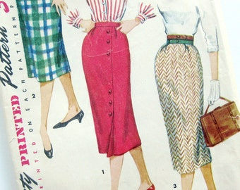 1950s Rockabilly Pencil Slim Wiggle Skirt Vintage Sewing Pattern Wrapped Effect Simplicity 1430 / UNCUT FF / Waist 25