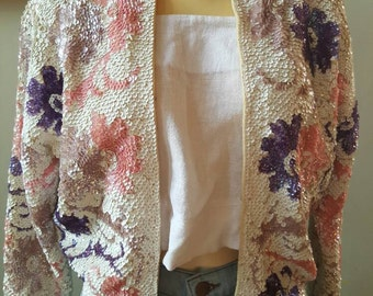 Vintage Pink Sequin Gene Shelly 50's Cardigan