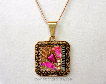 "Original Collage Pendant in gold and black bezel, with 16"" gold tone snake chain with extension, Mother's Day gift"
