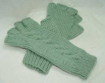 Fingerless Gloves, light green