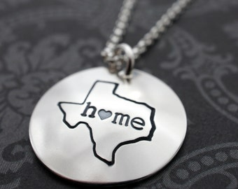 Texas State Necklace - Home Is Where Your Heart Is Collection - Custom Home State Necklace by Eclectic Wendy Designs