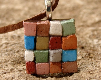 The Miniature Patchwork Quilt Mosaic Necklace - Dirt Road South Exclusive Wearable Art Jewelry