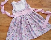 Girls Classic Party Dress - Sizes 12 mos to size 10 - Valentine's Dress Easter Dress pastel print lavender pink yellow lamb bunny dress