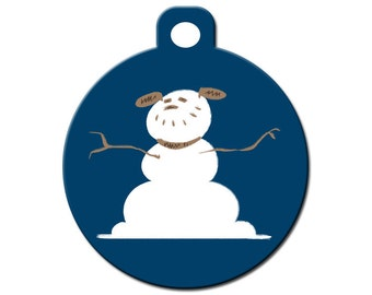christmas custom pet id tag dog snowman on the front your contact info ...