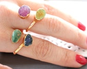 SALE ~ Druzy ring 24K Gold Plated- custom size - pick your design, Agate Druzy and Turquoise Stones