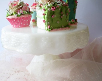 Milk Glass Cake Stand Anchor Hocking Grapevine - Vintage Weddings Bridal