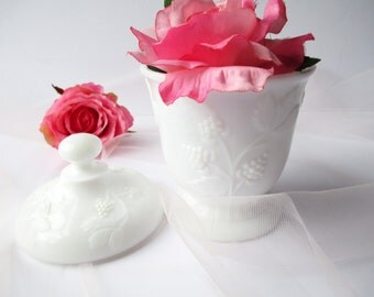 Milk Glass Jar Grape Motif Jar - Vintage Chic