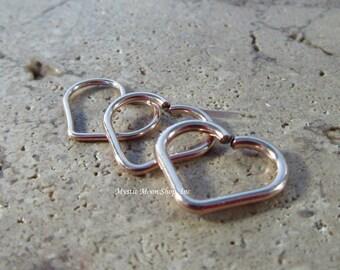 Heart Hoop SINGLE Pink Gold Medium - Piercing Hoop, Heart Earring, Heart Piercing, Pink Gold Heart Earring, 20 Gauge Heart, 18 Gauge Heart