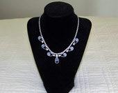 White And Blue Prong Set Rhinestone  Necklace