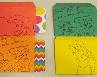 The Little Mermaid ARIEL - set of 4 envelopes and notecards