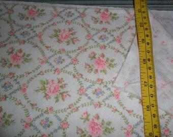 3 Vintage Fabrics - Pink Roses Flannel - White w/Stars - Plain Yellow