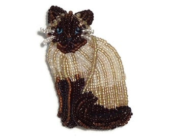 SIAMESE CAT beaded keepsake animal art pin pendant jewelry (Made to Order) Free US Shipping