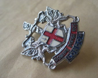 London Coat of Arms Pin Enamel Silver Red White Blue Shield Brooch Vintage Domine Dirige Nos