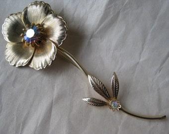 Flower Aurora Rhinestone Brooch Gold Vintage Pin AB