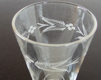 Vintage Etched Wheat Footed Water Goblet