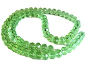 """Peridot Green Crystal Faceted 8mm Rondelle Beads, 17"""" Strand, Jewelry Supplies"""