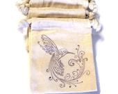 6 Muslin Bags, Purple Hummingbird and Flower,Gift Bags, Packaging, 3x4 Inches, Hand Stamped, Party Favor Bags